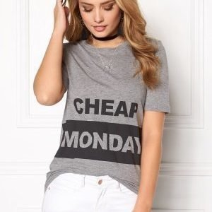 Cheap Monday Break Block Logo Tee Grey Melange
