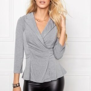 Chiara Forthi Blazer Style Jersey Top Grey melange