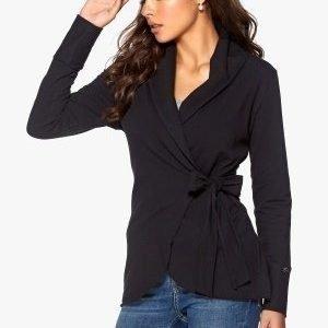 Chiara Forthi Jersey Wrap Cardigan Black