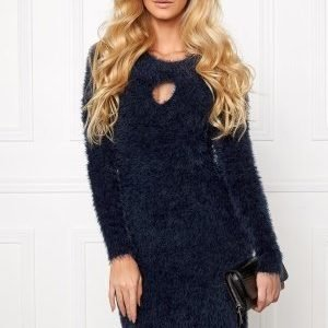 Chiara Forthi Keyhole Knit Dress Midnight Blue