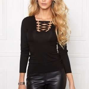 Chiara Forthi Lace Up Top Black