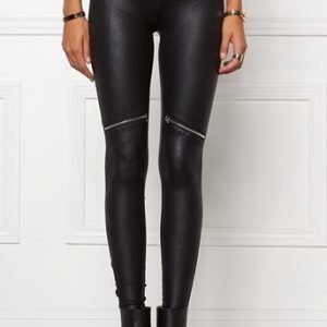 Chiara Forthi Leggingsit Zipped Shiny Leggings Musta Hopea