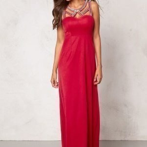 Chiara Forthi Noura Embellished Dress Raspberry red