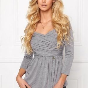 Chiara Forthi Rochelle Gathered Top Marled Grey