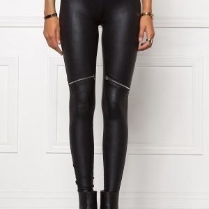Chiara Forthi Zipped Shiny Leggings Black / Silver