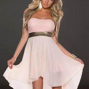 Christina vaaleanpunainen high low -mekko