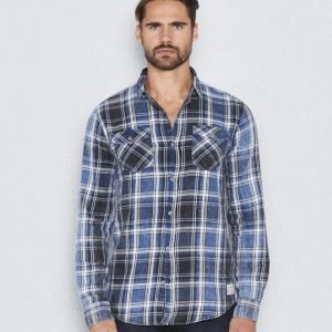 Clay Cooper Lieutenant Washed Shirt Blue Checked
