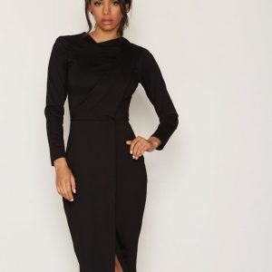 Closet Cross Over Neck Front Split Dress Kotelomekko Black