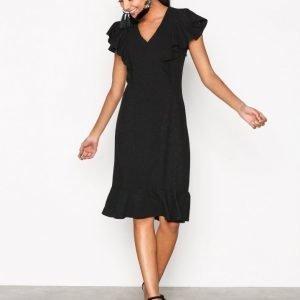 Closet Frill Hem And Shoulder Dress Skater Mekko Black