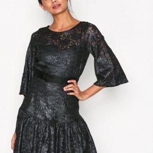 Closet Lace Frill Hem Dress Skater Mekko Dark Grey
