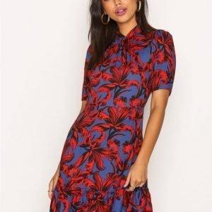 Closet Mandarin Collar Short Sleeve Frill Hem Dress Loose Fit Mekko Multi