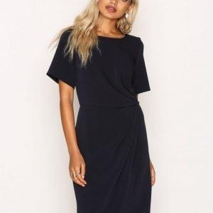 Closet Syntheticcloset Short Sleeve Asymmetric Draped Dress Loose Fit Mekko Navy