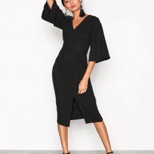 Closet V-Neck Flared Sleeve Dress Kotelomekko Black