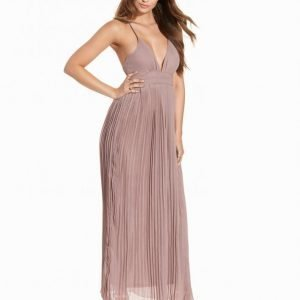 Club L Chiffon Pleated Detail Maxi Dress Maksimekko Mocha