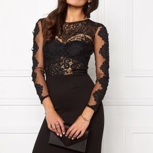 Club L Crochet Detail Midi Dress Black