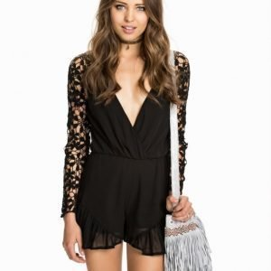 Club L Crochet Frill Playsuit Cream