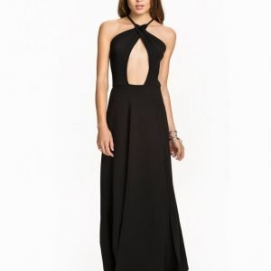 Club L Cross Over Neck Maxi Dress Maksimekko Musta
