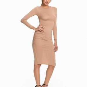 Club L Essentials L/S Rouched Gathered Dress Ljus Grå