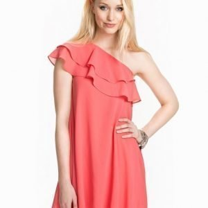 Club L Essentials One Shoulder Frill Detail Dress Candy Pink