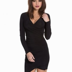 Club L Essentials Slinky L/S Side Rouched Dress Black