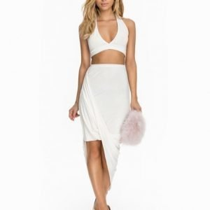 Club L Halter Neck Twin Set Pure White