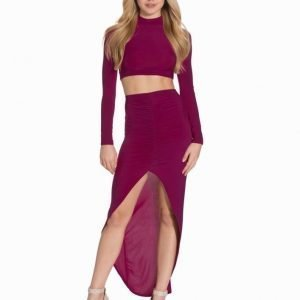 Club L High Neck Top & Rouched Skirt Twin Set