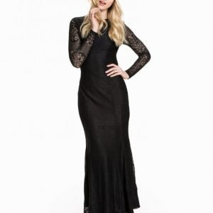 Club L Ls Open Back Lace Maxi Dress Maksimekko Musta