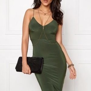 Club L Slinky Cami Strap Dress Khaki