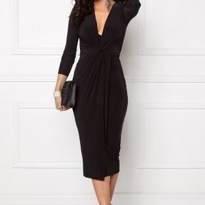 Club L Slinky Knot Midi Dress Black