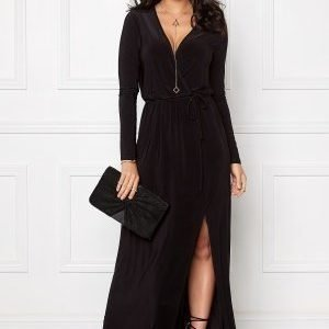 Club L Slinky Wrap Front Maxi Black