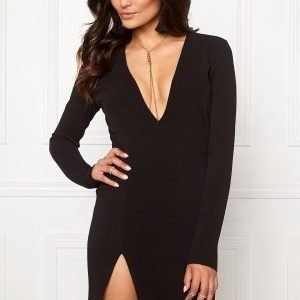 Club L V Neck Plunge Bodycon Black