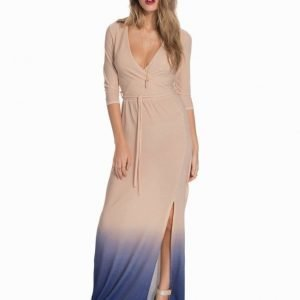Club L Wrap Front Lurex Maxi Dress Grey