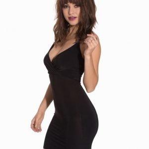 Club L Wrap Front Slinky Dress Nude Beige