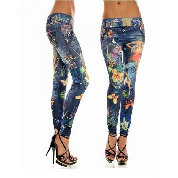 Cool butterfly girl jeans print leggins