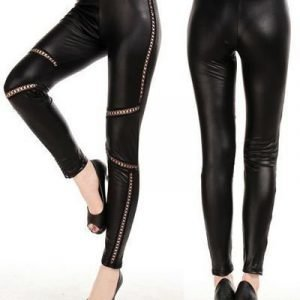 Criss Cross Faux Leather Leggings