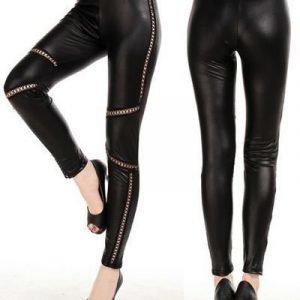 Criss Cross Faux Leather Leggings