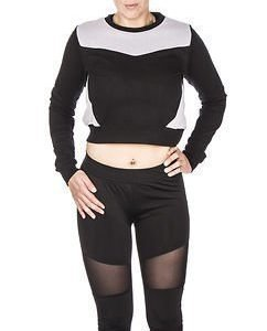 Cropped Mesh Terry Crew Black