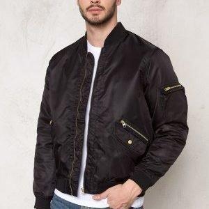 D.Brand Golden Zip Bomber Jacket Black