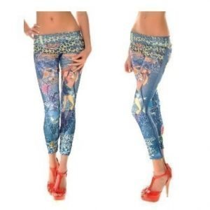Dancing girl jeans print leggings