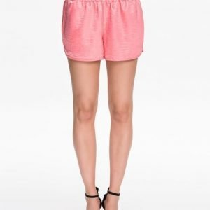 Dark Pink Satin Runner Shorts Coral