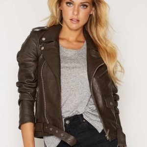 Deadwood Biker Jacket Nahkatakki Brown