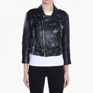 Deadwood Leather Crop Biker Jacket