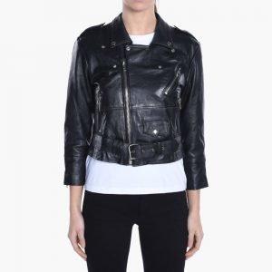 Deadwood Leather Crop Biker Jacket