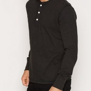 Denim & Supply Ralph Lauren Henley Long Sleeve Knit Pusero Black