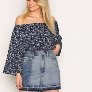 Denim & Supply Ralph Lauren Patched Denim Skirt Minihame Denim