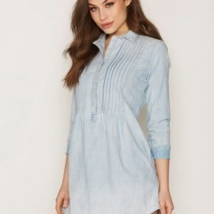 Denim & Supply Ralph Lauren Pintuck Long Sleeve Casual Dress Loose Fit Mekko Indigo