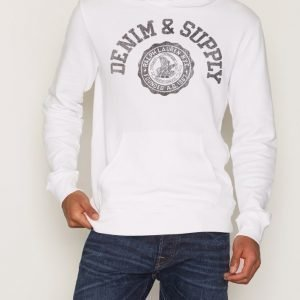 Denim & Supply Ralph Lauren Popover Hood-Long Sleeve Knit Pusero White