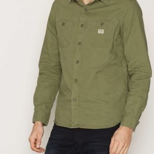 Denim & Supply Ralph Lauren Work 2PK Reg-Long Sleeve Sport Kauluspaita Army Olive