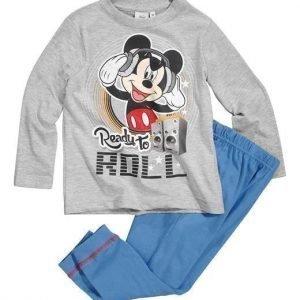 Disney Mickey Mouse Pyjama Mel. vaaleanharmaa Sininen