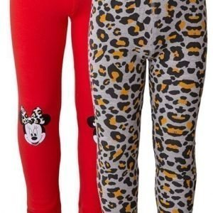 Disney Minnie Mouse Leggingsit 2 paria Kuviollinen/Red